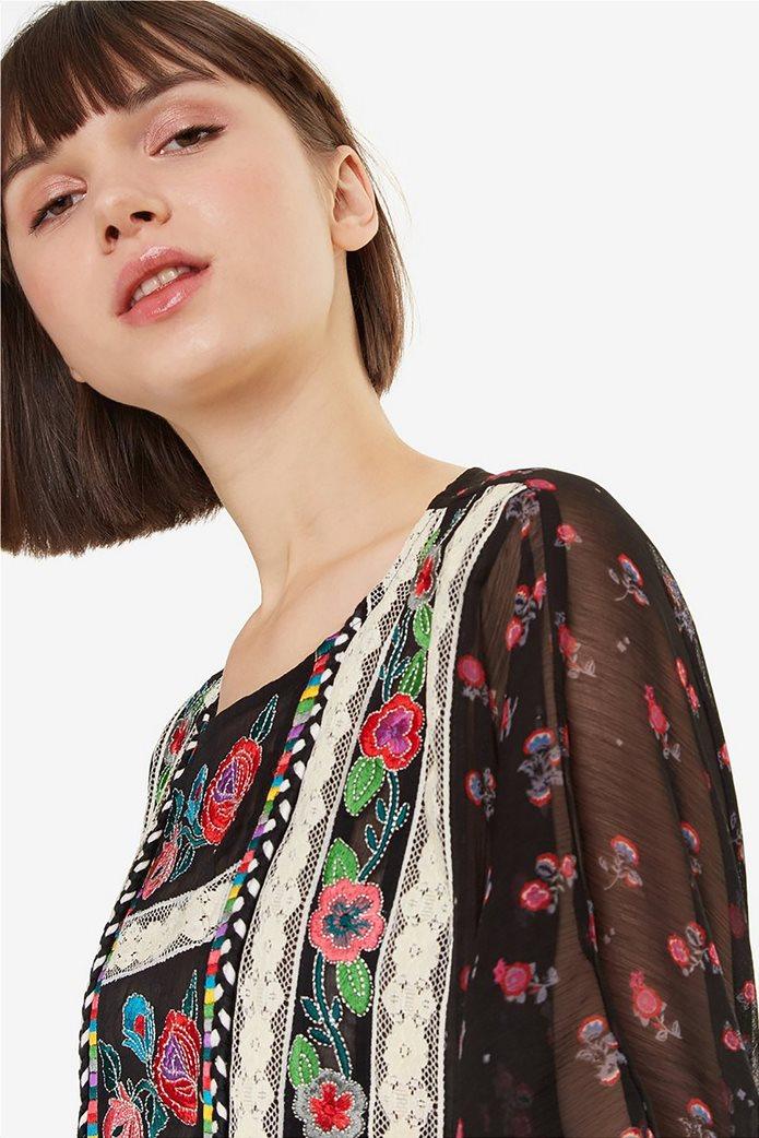 Desigual γυναικεία μπλούζα εμπριμέ με κεντήματα και δαντέλα Kassandra 5
