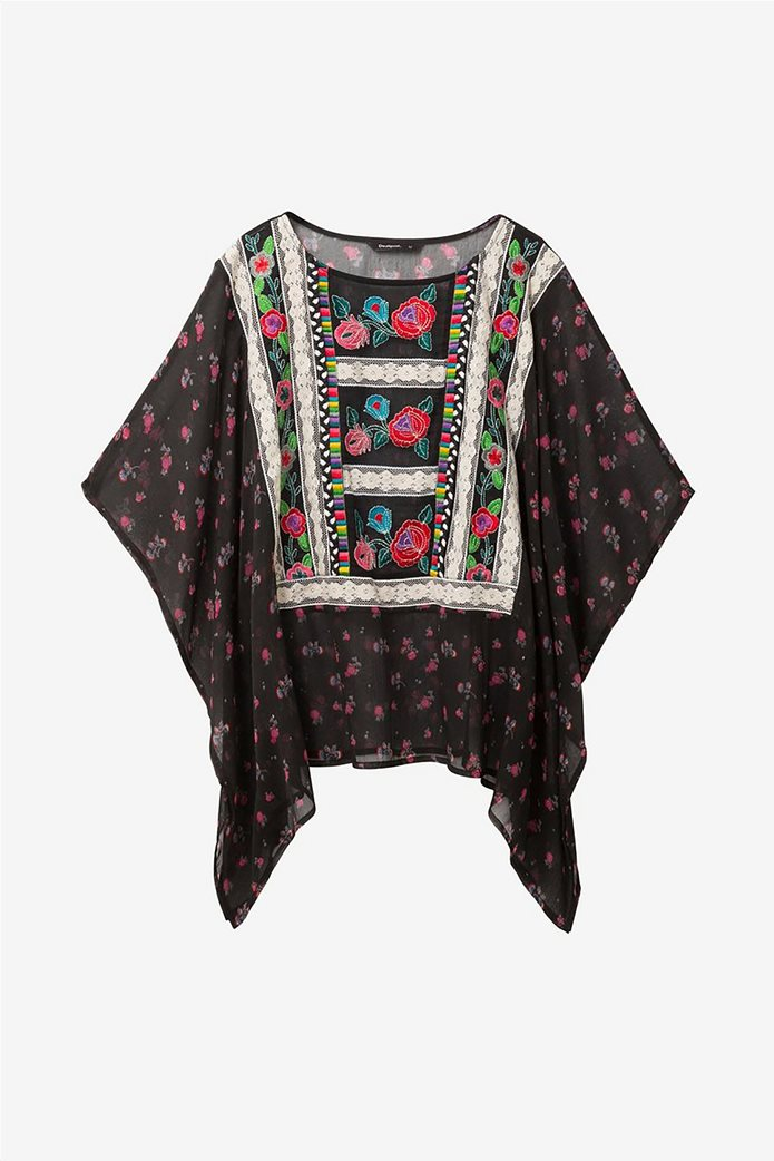 Desigual γυναικεία μπλούζα εμπριμέ με κεντήματα και δαντέλα Kassandra 6