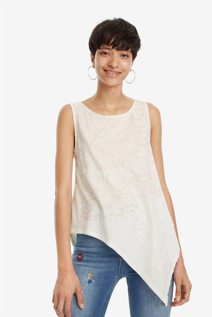 Desigual γυναικεία αμάνικη μπλούζα με ασύμμετρο τελείωμα Leeds 0