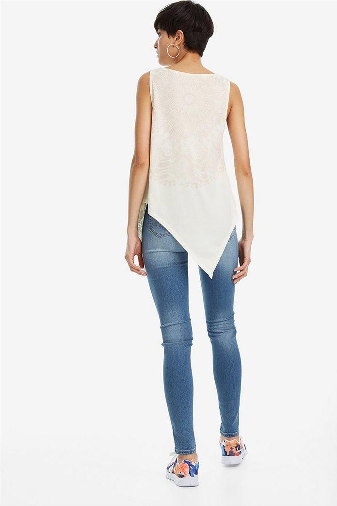 Desigual γυναικεία αμάνικη μπλούζα με ασύμμετρο τελείωμα Leeds 2
