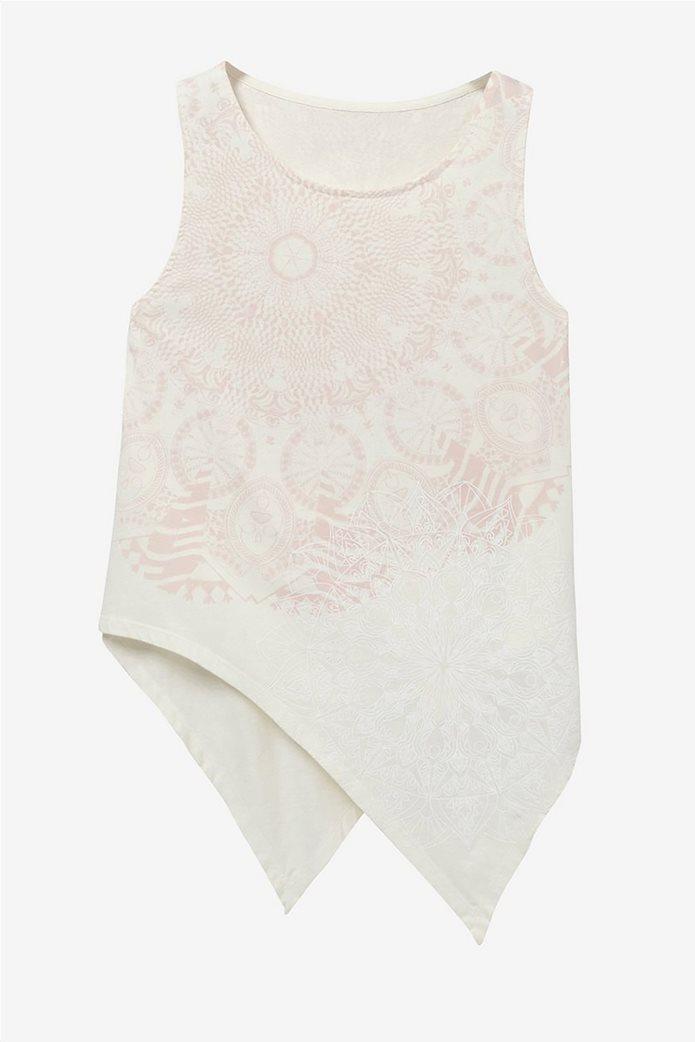Desigual γυναικεία αμάνικη μπλούζα με ασύμμετρο τελείωμα Leeds 3