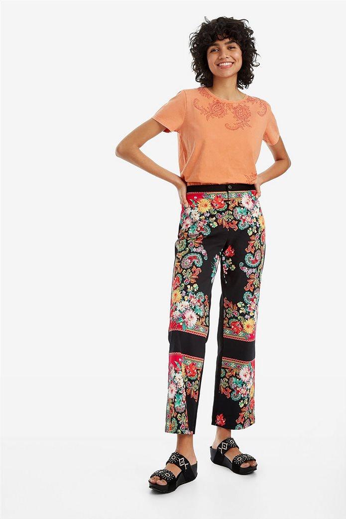 Desigual γυναικεία παντελόνα cropped με print 0