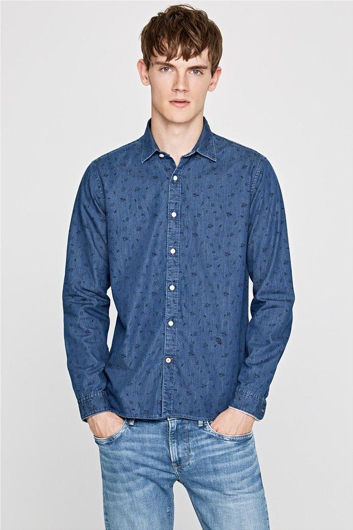 Pepe Jeans ανδρικό τζην πουκάμισο με print Slim fit Ηarold 0