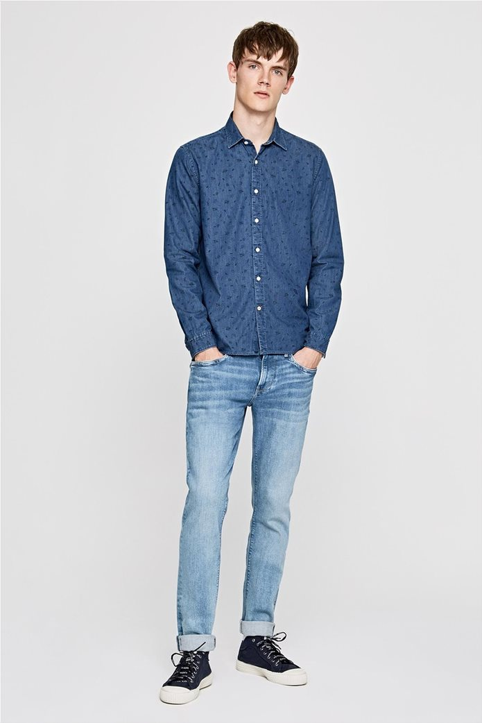 Pepe Jeans ανδρικό τζην πουκάμισο με print Slim fit Ηarold 1