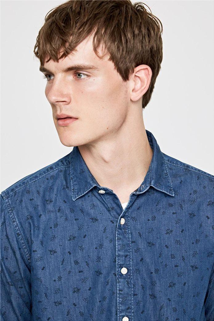 Pepe Jeans ανδρικό τζην πουκάμισο με print Slim fit Ηarold 2