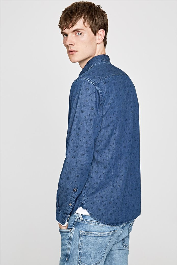 Pepe Jeans ανδρικό τζην πουκάμισο με print Slim fit Ηarold 3