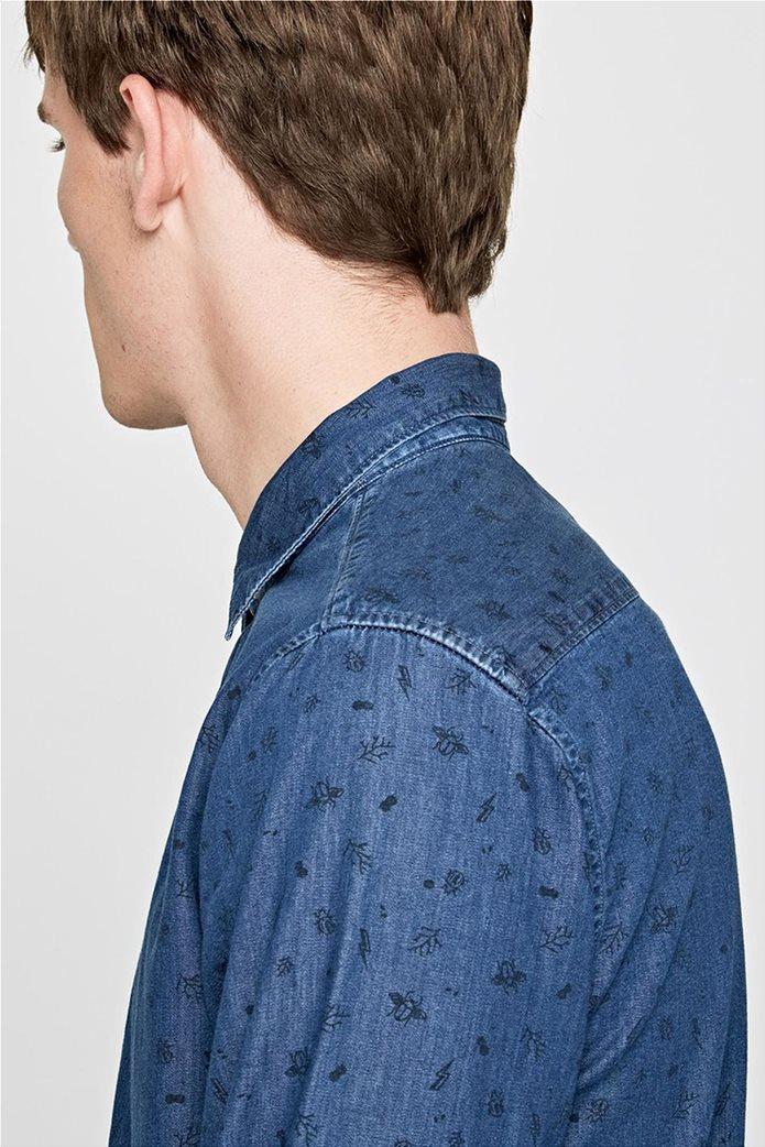Pepe Jeans ανδρικό τζην πουκάμισο με print Slim fit Ηarold 4