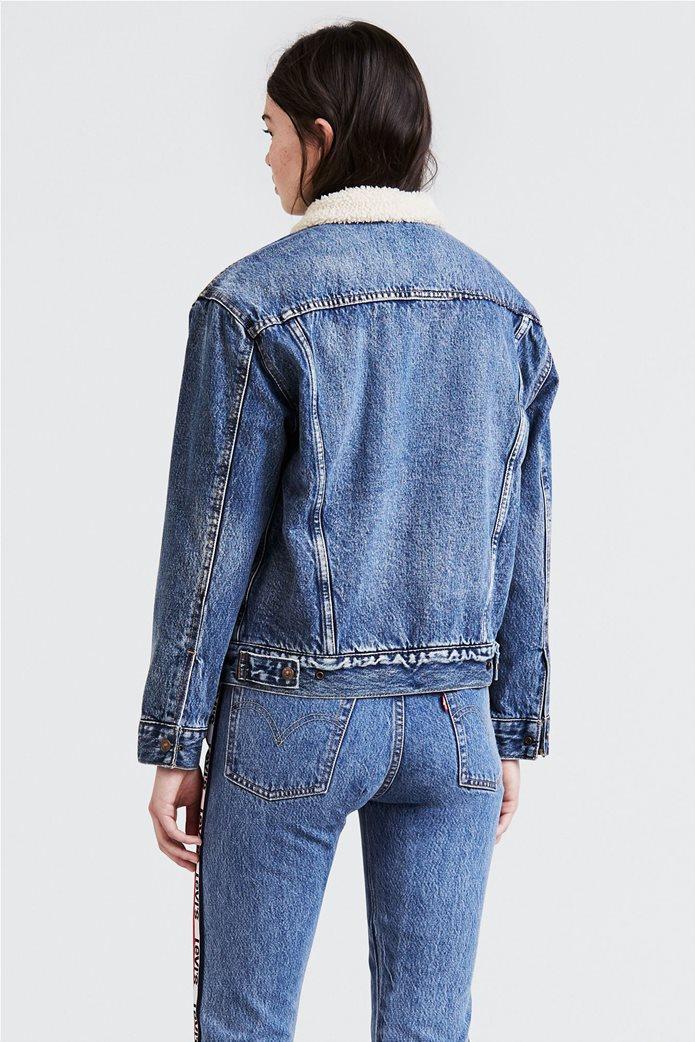 Levi's γυναικείο denim jacket Sherpa Trucker Αddicted to Love Μπλε 1