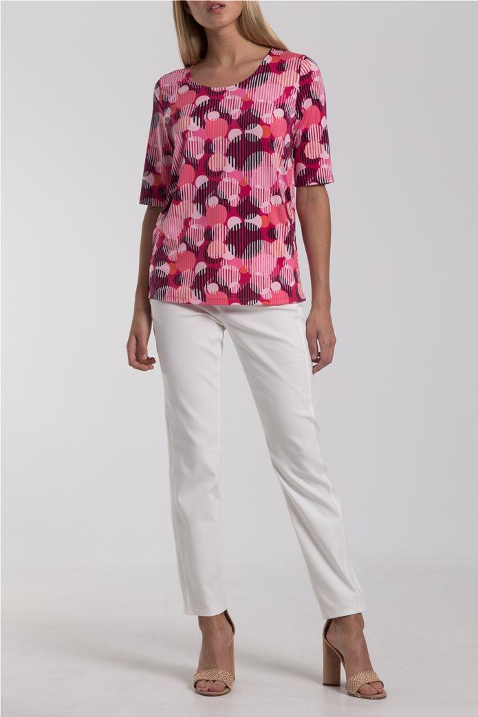 Γυναικείο Τ-shirt με γεωμετρικά σχέδια Gerry Weber Ροζ 1