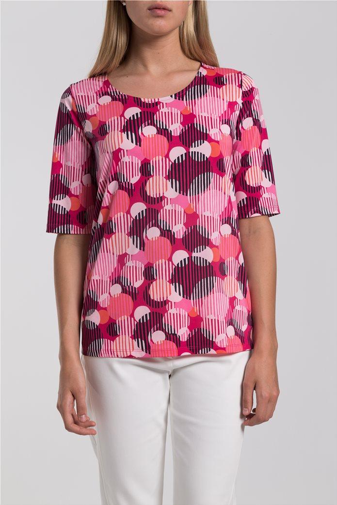 Γυναικείο Τ-shirt με γεωμετρικά σχέδια Gerry Weber Ροζ 2