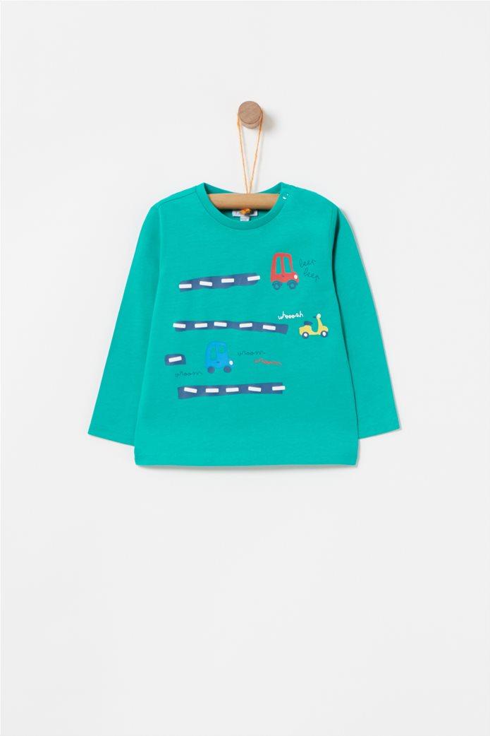 OVS βρεφική μονόχρωμη μπλούζα με σχέδιο αυτοκινητάκια 0
