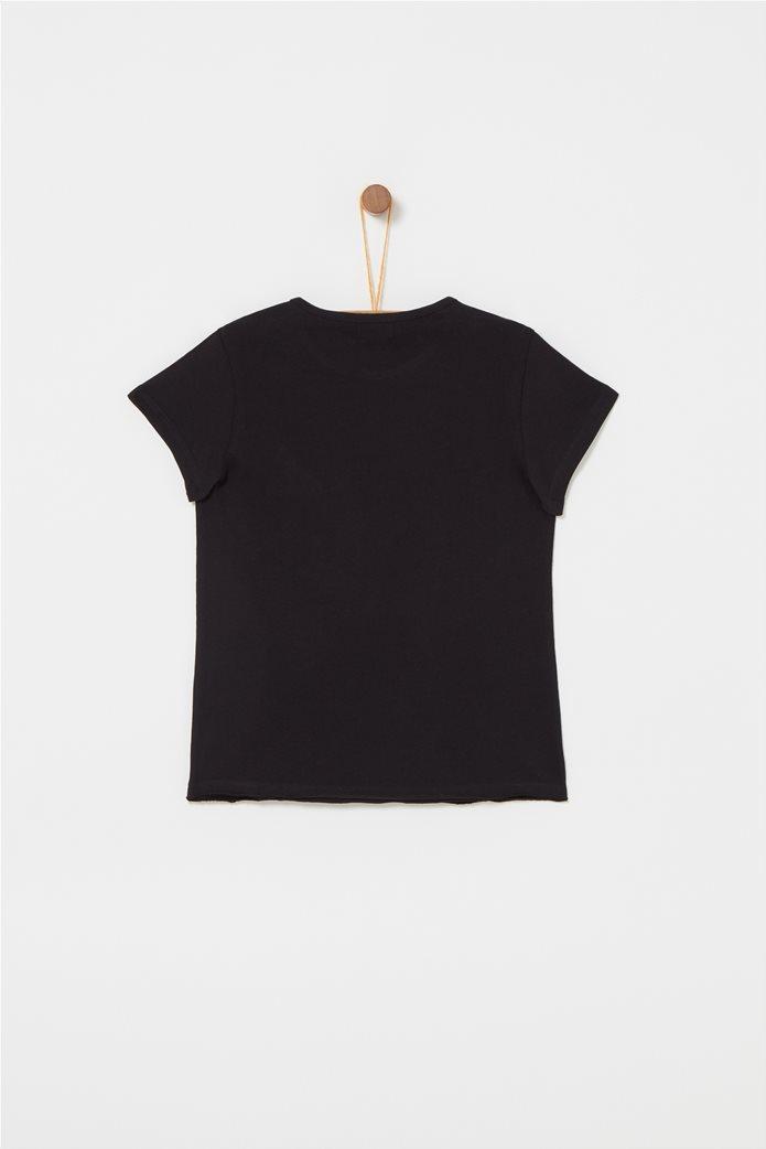 OVS παιδικό T-shirt με μικρό κέντημα Freshness Μαύρο 1