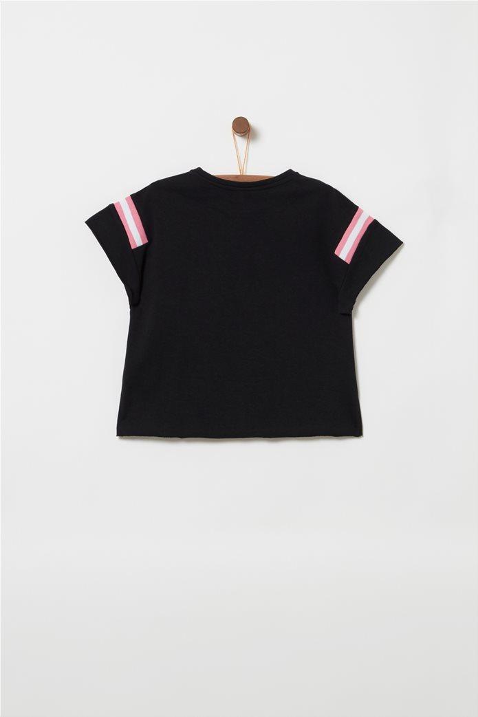 OVS παιδικό T-shirt με letter print Hello και φάσες στα μανίκια Μαύρο 1