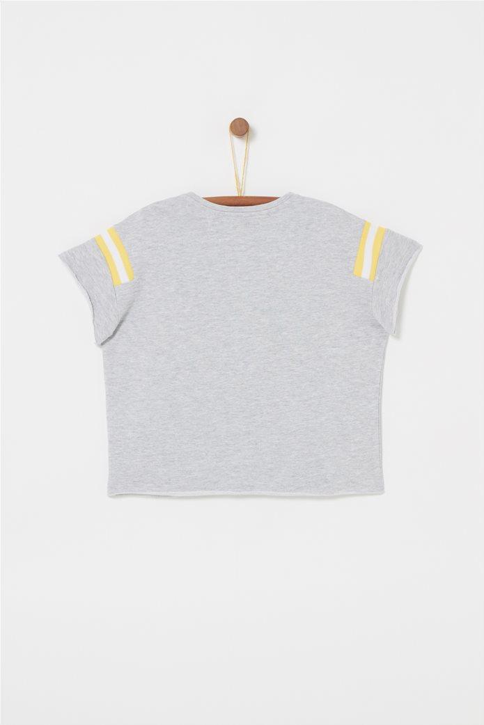 OVS παιδικό T-shirt με letter printCherryκαι ρίγες στα μανίκια Γκρι 1