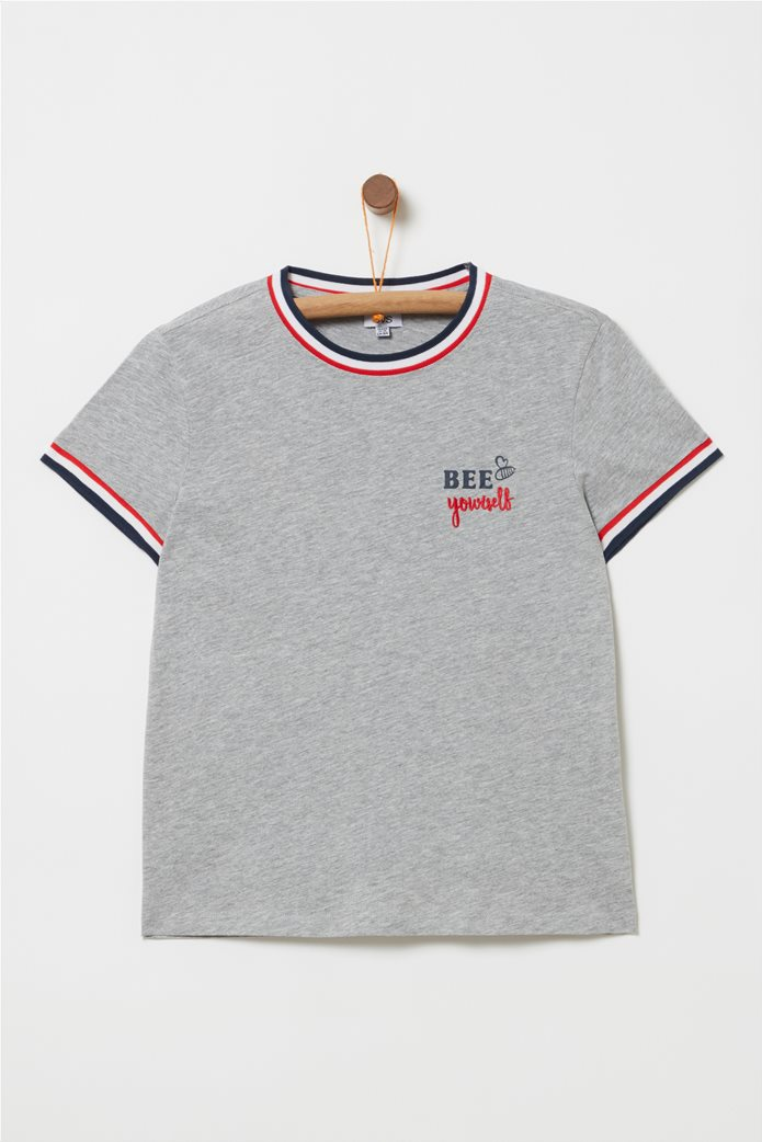 OVS παιδικό T-shirt με letter print Bee Yourself Γκρι 0