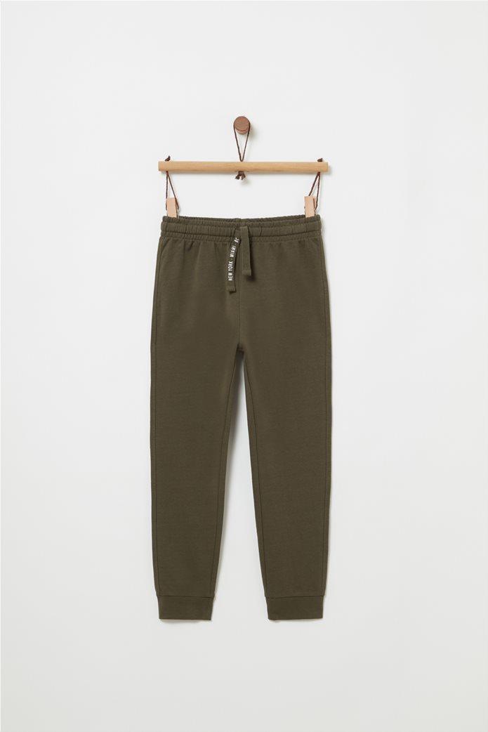 OVS παιδικό παντελόνι φόρμας μονόχρωμο με πίσω τσέπη με letter print 0