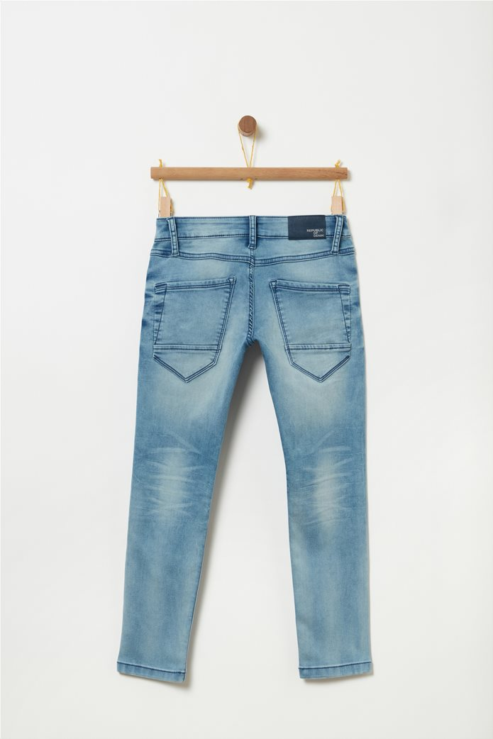 OVS μπλε παιδικό παντελόνι τζην ξεβαμμένο slim fit 1