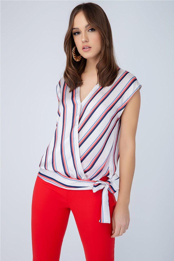 Billy Sabbado γυναικεία ριγέ μπλούζα με δέσιμο 0