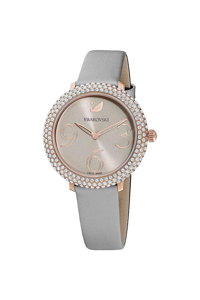Swarovski Crystal Frost Watch, Leather Strap, Rose-gold tone PVD 2