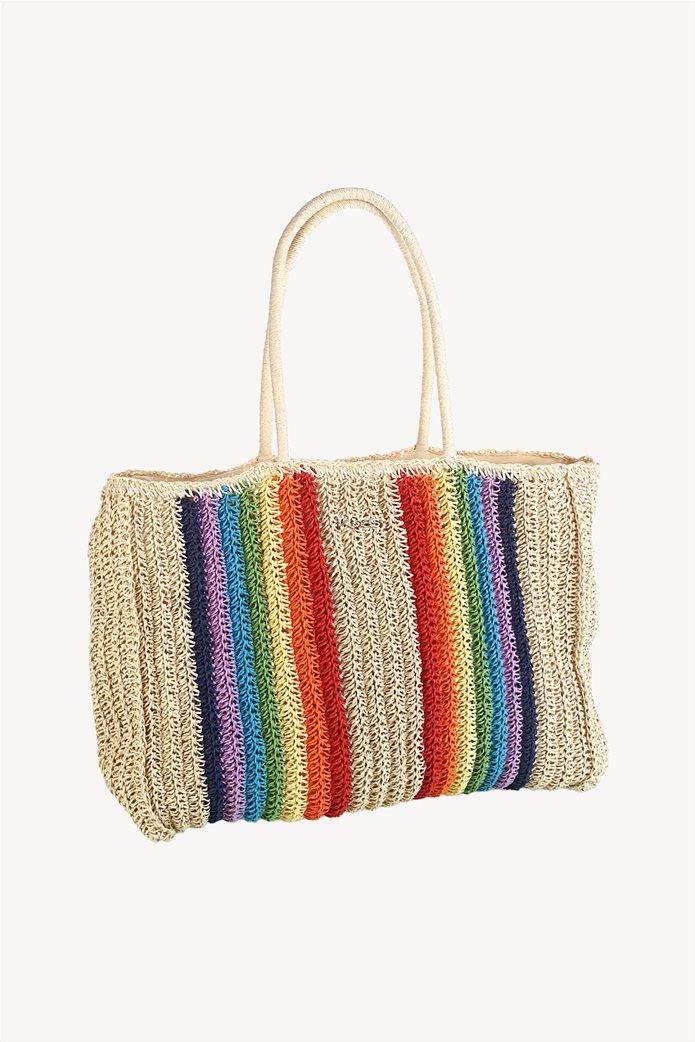 0da464df8b6 Kbas γυναικεία τσάντα πλεκτή με πολύχρωμες λεπτομέρειες