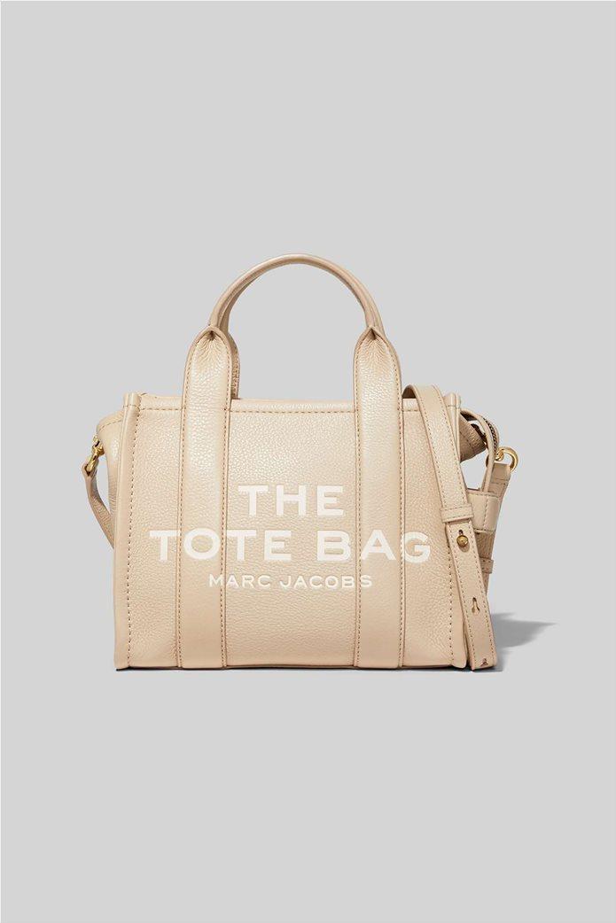 "Marc Jacobs γυναικεία δερμάτινη τσάντα χειρός με logo print ""The Mini Tote"" Μαύρο 0"