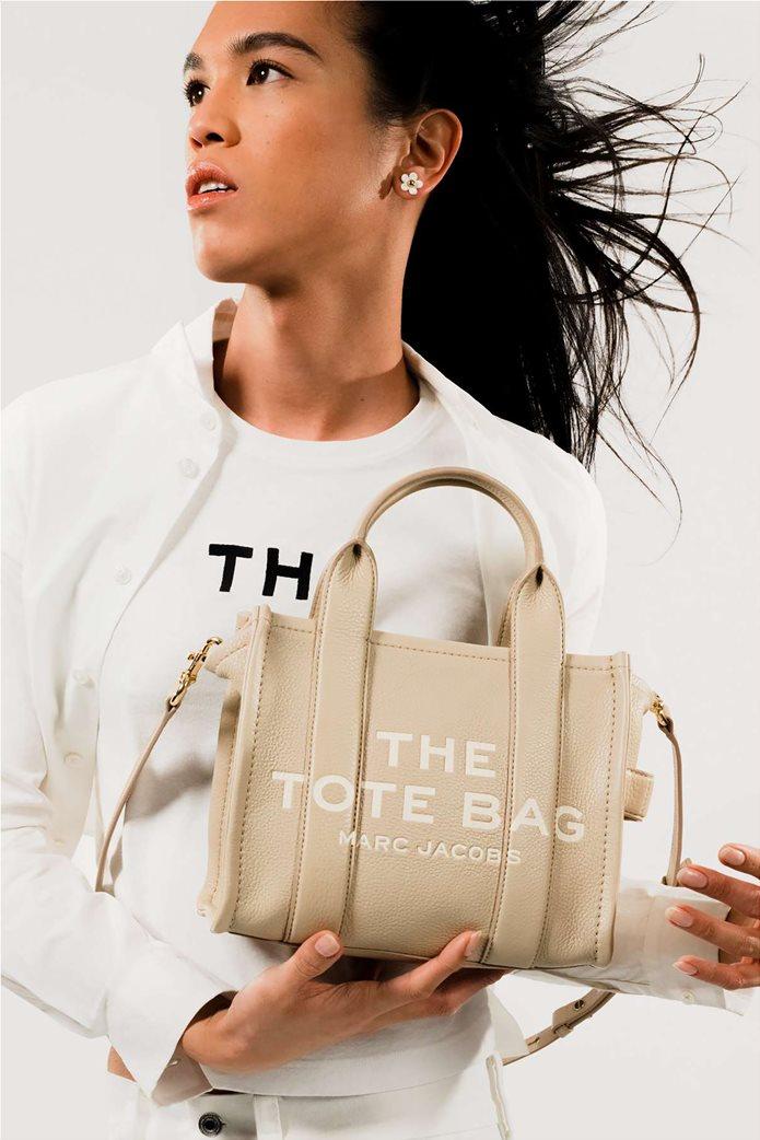 "Marc Jacobs γυναικεία δερμάτινη τσάντα χειρός με logo print ""The Mini Tote"" Μαύρο 1"