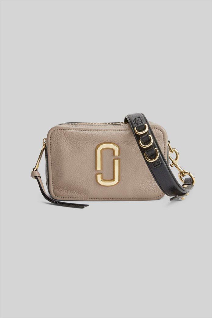 "Marc Jacobs γυναικεία δερμάτινη τσάντα crossbody με μεταλλικό logo ""The Softshot 21"" Μπεζ 0"