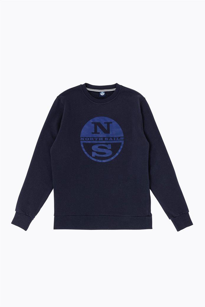 North Sails ανδρικό φούτερ με logo print στο στήθος 0