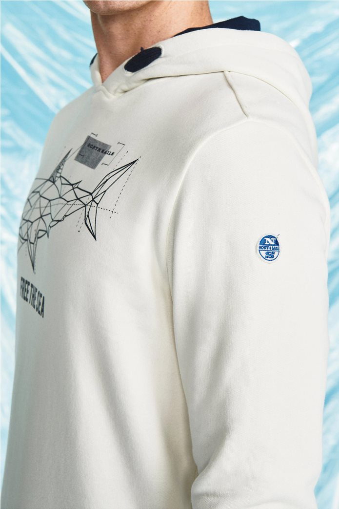 North Sails ανδρικό φούτερ με κουκούλα και logo print 1