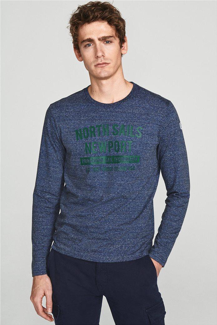 North Sails ανδρική μπλούζα μακρυμάνικη με logo letter print 0