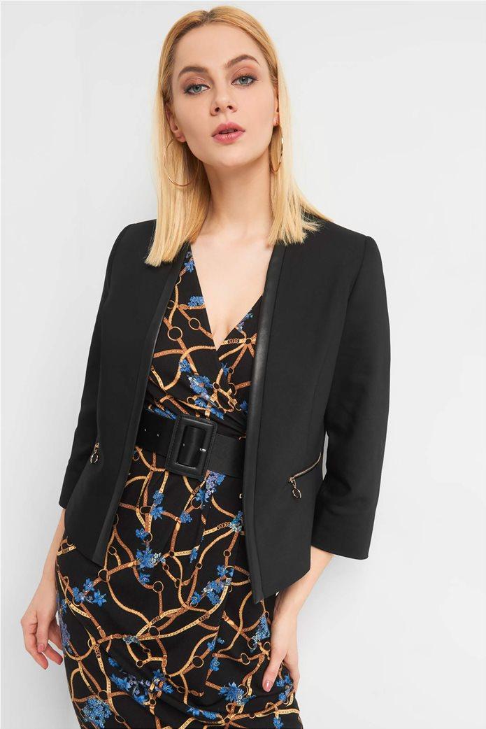 Orsay Γυναικείο σακάκι μονόχρωμομε φάσα faux leather 1