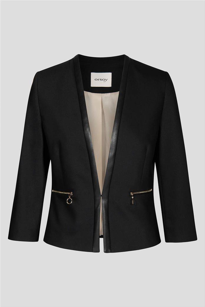 Orsay Γυναικείο σακάκι μονόχρωμομε φάσα faux leather 4