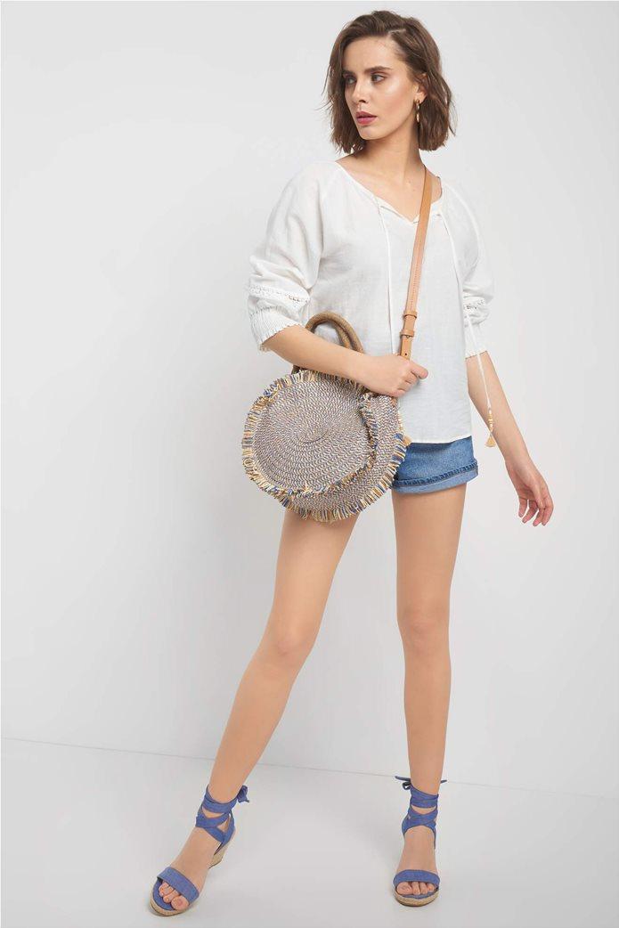 Orsay γυναικεία μπλούζα με κορδόνι στην λαιμόκοψη 1
