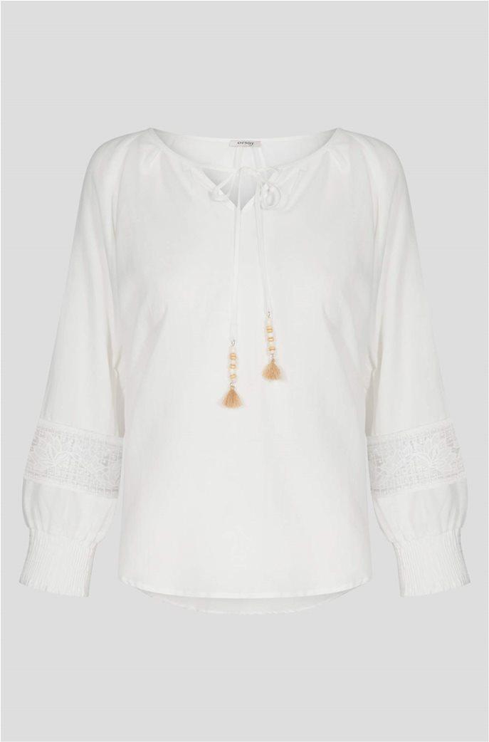 Orsay γυναικεία μπλούζα με κορδόνι στην λαιμόκοψη 4