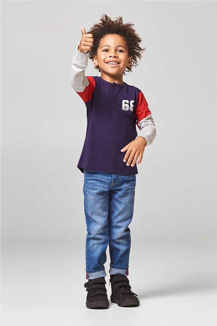 Esprit παιδικό μακρυμάνικο μπλουζάκι με κουμπιά και print 0