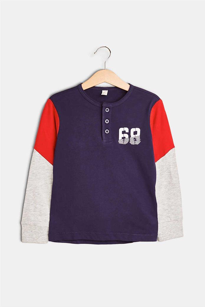 Esprit παιδικό μακρυμάνικο μπλουζάκι με κουμπιά και print 1