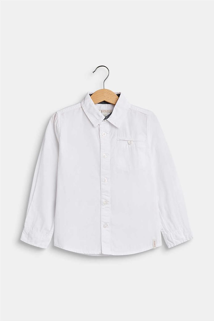 Esprit παιδικό μονόχρωμο πουκάμισο με τσέπη 0