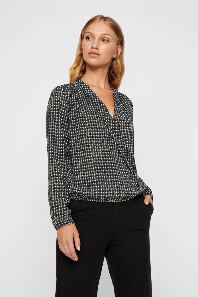 Vero Moda γυναικεία κροαζέ μακρυμάνικη  μπλούζα με μιρκοσχέδιο 0