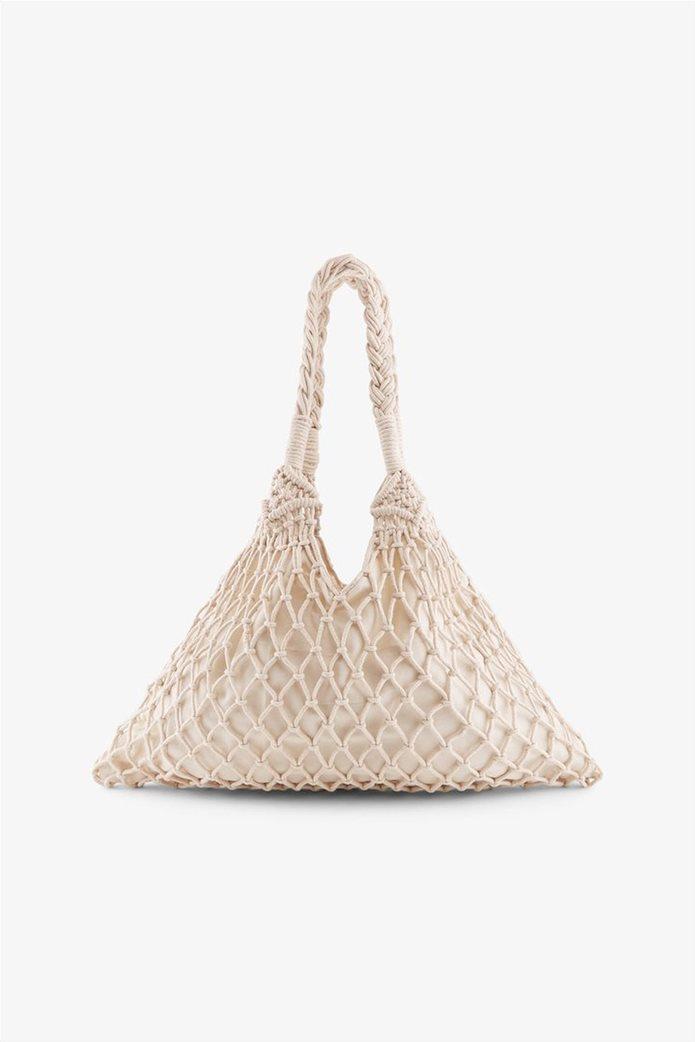 PIECES γυναικεία crotchet τσάντα ώμου 2