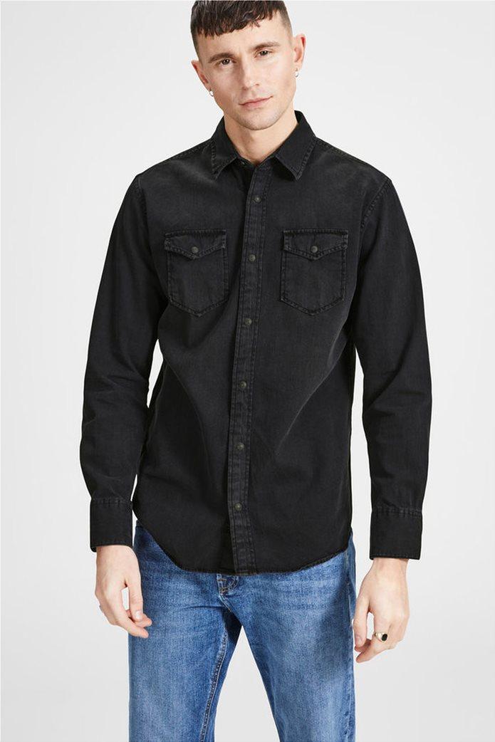 JACK & JONES ανδρικό πουκάμισο denim Μαύρο 0