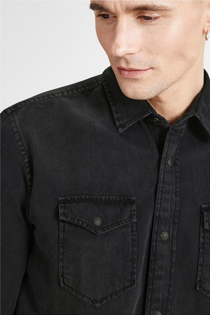 JACK & JONES ανδρικό πουκάμισο denim Μαύρο 3