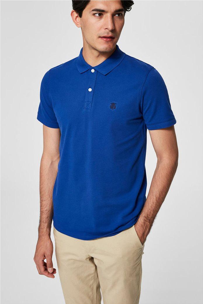 Selected ανδρική μπλούζα πόλο μονόχρωμη Μπλε Ρουά 0