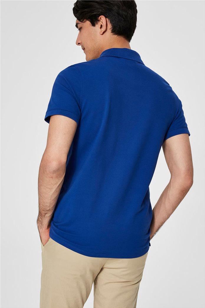 Selected ανδρική μπλούζα πόλο μονόχρωμη Μπλε Ρουά 1