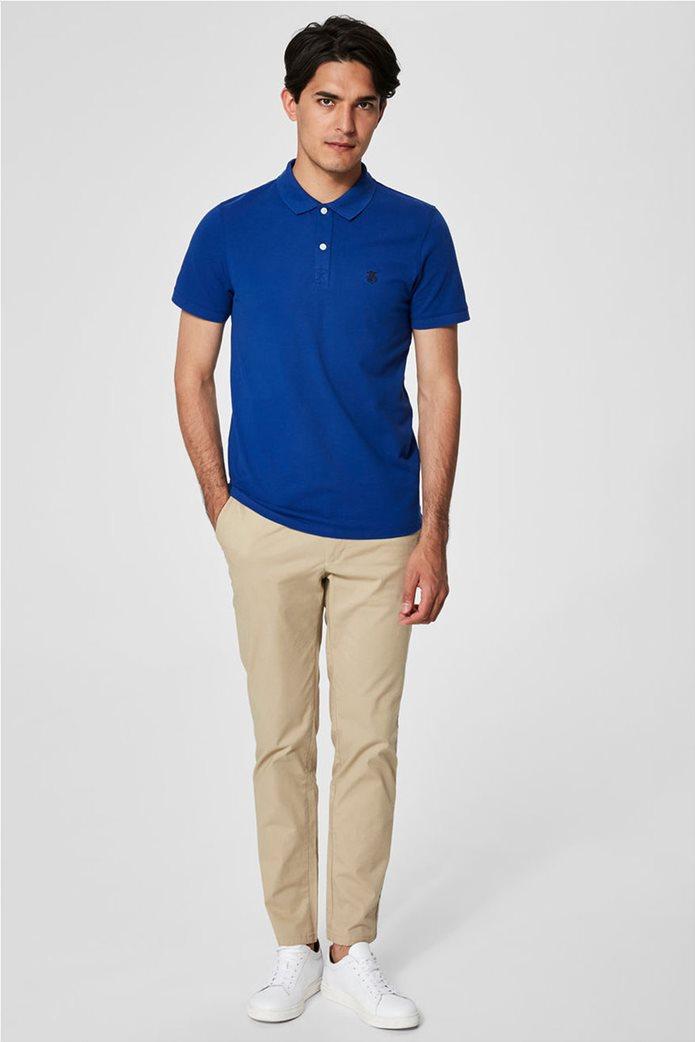 Selected ανδρική μπλούζα πόλο μονόχρωμη Μπλε Ρουά 2