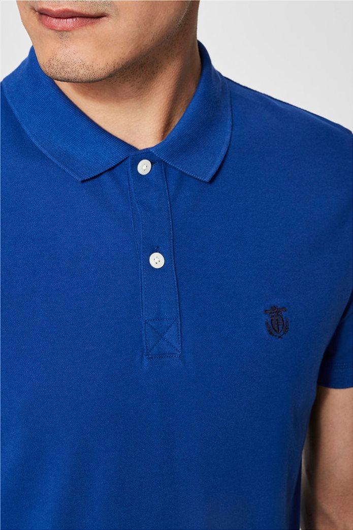 Selected ανδρική μπλούζα πόλο μονόχρωμη Μπλε Ρουά 3