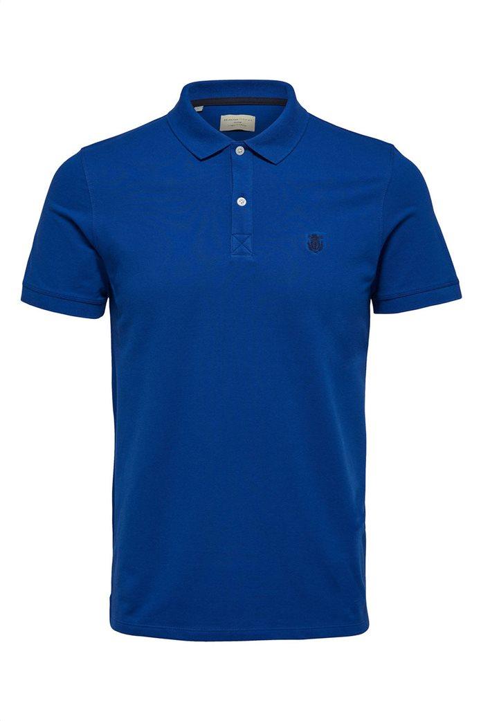 Selected ανδρική μπλούζα πόλο μονόχρωμη Μπλε Ρουά 4