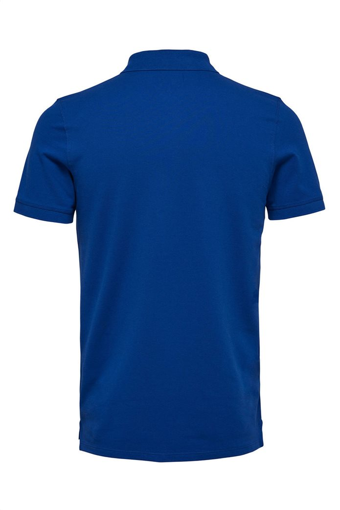 Selected ανδρική μπλούζα πόλο μονόχρωμη Μπλε Ρουά 5