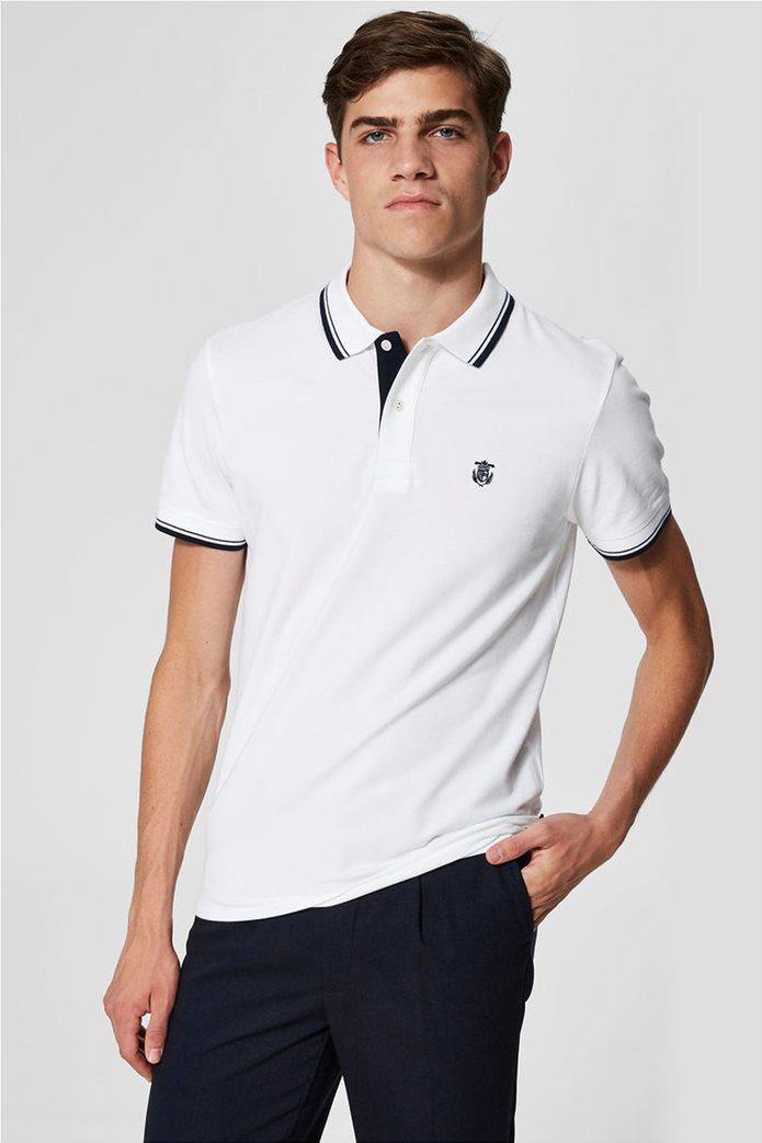 Selected ανδρική μπλούζα πόλο με ρίγα στο γιακά και στα μανίκια 0