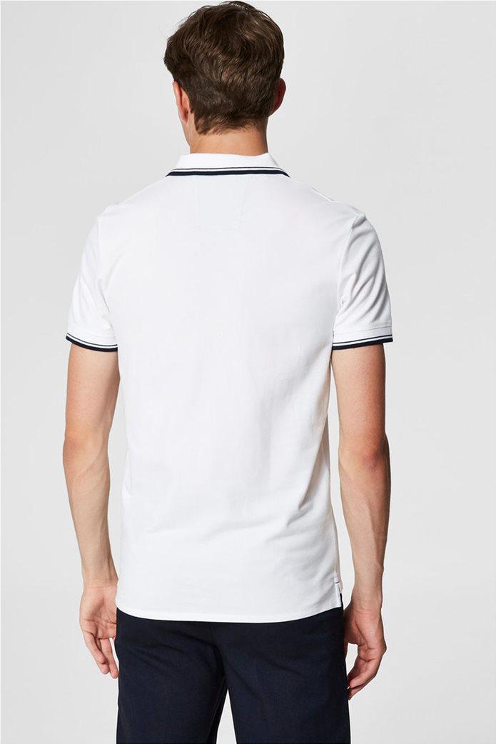 Selected ανδρική μπλούζα πόλο με ρίγα στο γιακά και στα μανίκια 1