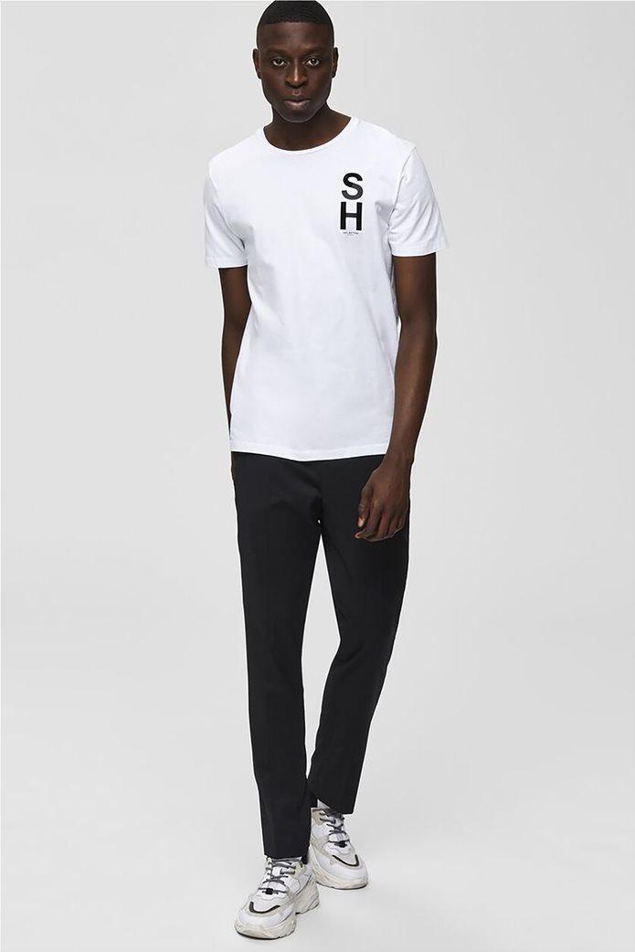 Selected ανδρικό T-shirt μονόχρωμο με letter print 2